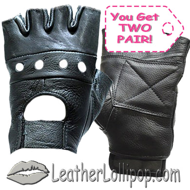 Two Pair of Fingerless Biker Leather Motorcycle Gloves - SKU LL-GL2008-X2-DL
