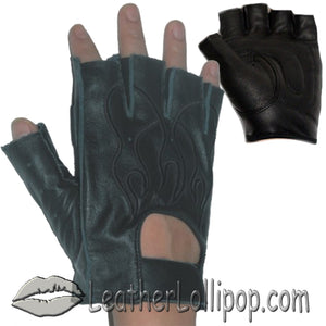 Fingerless Biker Leather Motorcycle Gloves With Black Flames - SKU LL-GL2015-DL