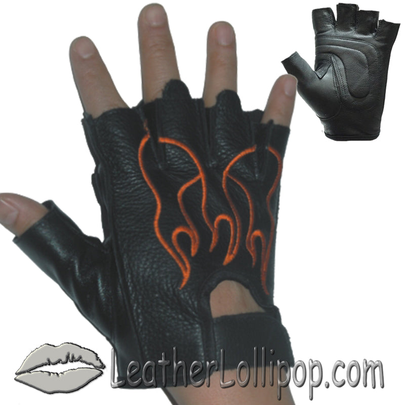 Fingerless Biker Leather Motorcycle Gloves With Orange Flames - SKU LL-GL2017-DL