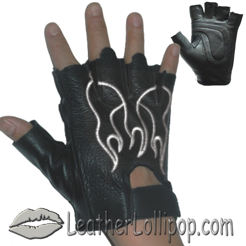 Fingerless Biker Leather Motorcycle Gloves With White Flames - SKU LL-GL2018-DL - Leather Lollipop