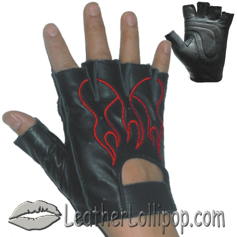 Fingerless Biker Leather Motorcycle Gloves With Red Flames - SKU LL-GL2019-DL