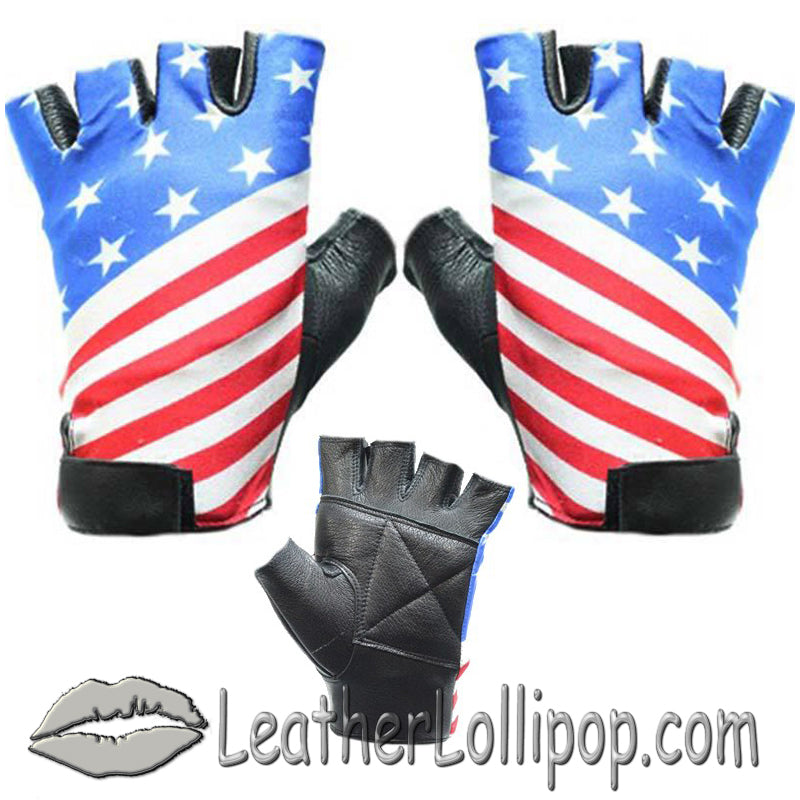 American - USA Flag Fingerless Biker Leather Motorcycle Gloves - SKU LL-GL2034-DL