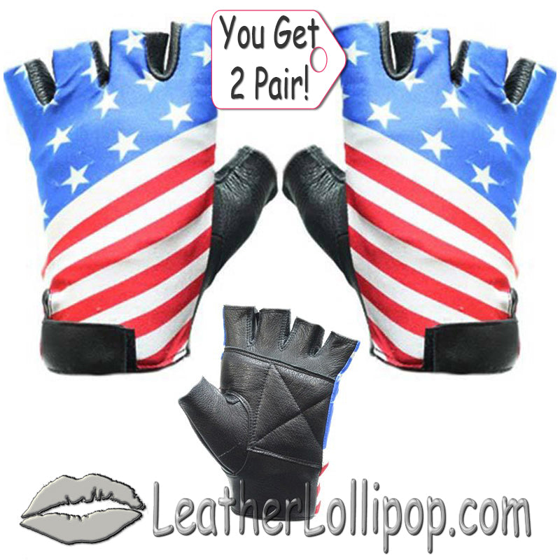 His and Hers American Flag Motorcycle Riding Gloves - SKU LL-GL2034-X2-DL - Leather Lollipop