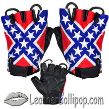 Confederate - Rebel Flag Fingerless Biker Leather Motorcycle Gloves - SKU LL-GL2038-N-DL