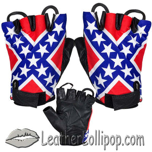 Confederate - Rebel Flag Fingerless Biker Leather Motorcycle Gloves - SKU LL-GL2038-N-DL - Leather Lollipop