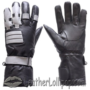 Full Finger Leather Motorcycle Riding Gloves With Gel Palms - SKU LL-GL2039-DL