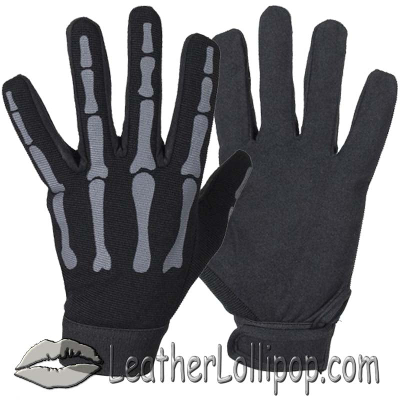 Mechanics Gloves With Grey Skeleton Hands - SKU LL-GL2045-GREY-DL
