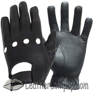 Leather Driving or Riding Gloves With Knuckle Holes - SKU LL-GL2050-11-DL