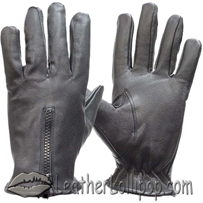 Leather Driving Gloves With Zipper Closure - Unlined - SKU LL-GL2054-11-DL