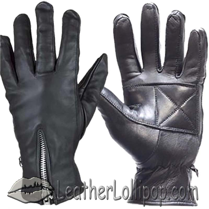 Ladies Full Finger Zipper Leather Riding Driving Gloves - SKU LL-GL2081-DL