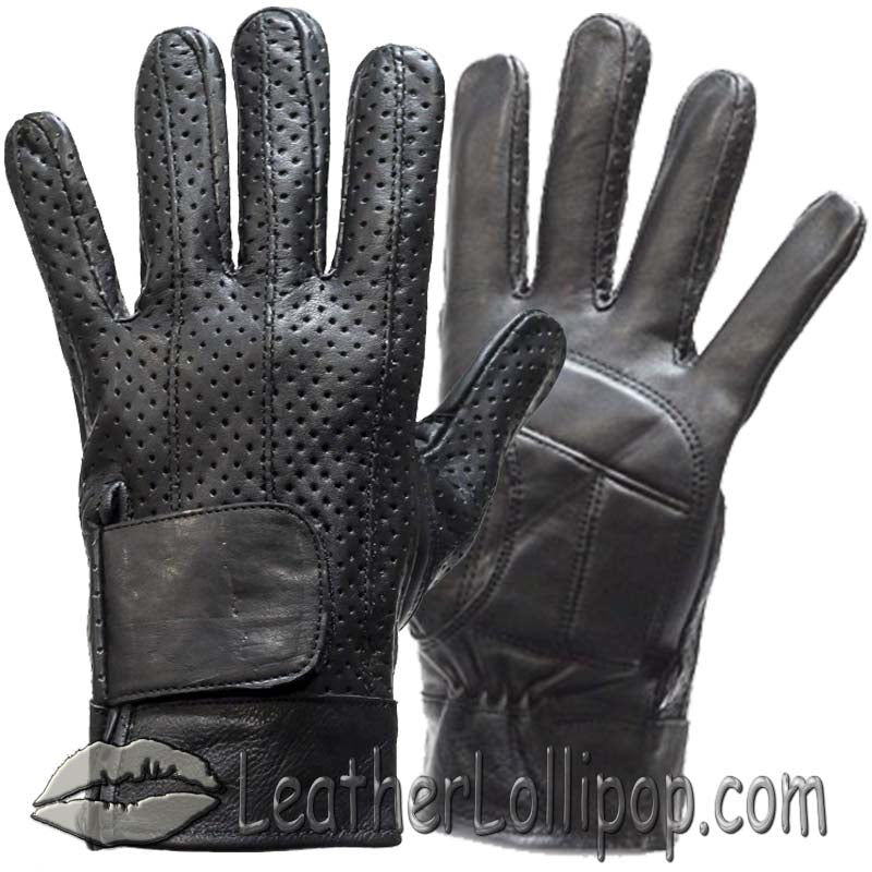 Full Finger Leather Riding Gloves with Air Vents And Gel Pads - SKU LL-GL2084-DL