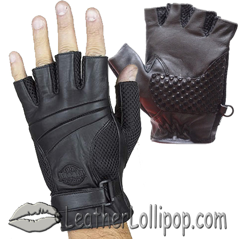 Fingerless Biker Leather Motorcycle Gloves With Gel Palms - SKU LL-GL2092-DL - Leather Lollipop