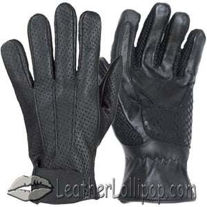 Summer Time Leather Riding Gloves with Air Vents And Gel Pads - SKU LL-GL2093-DL