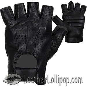 Deer Skin Premium Leather Fingerless Motorcycle Riding Gloves - SKU LL-GLD2090-22-DL