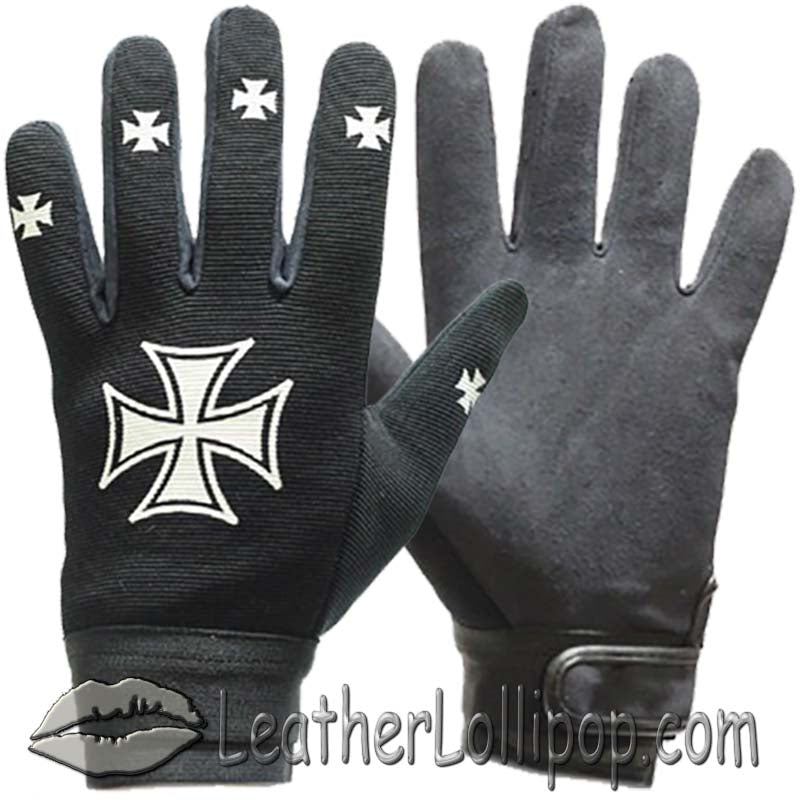 Mechanics Gloves with Iron Cross Design - SKU LL-GLZ46-DL