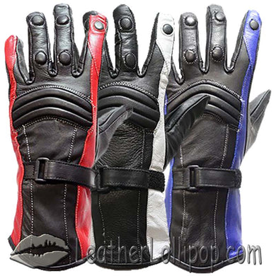Ladies Leather Gauntlet Gloves in Red White or Blue - SKU LL-GLZ60-DL - Leather Lollipop