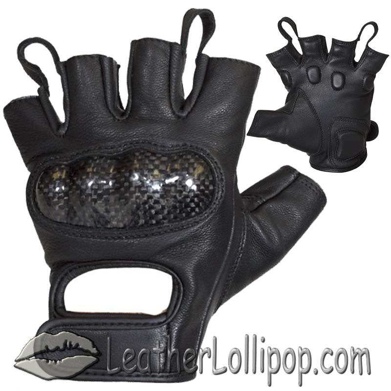 Fingerless Biker Leather Motorcycle Gloves With Knuckle Protection - SKU LL-GLZ86-DL