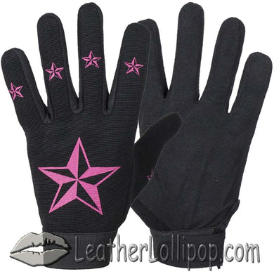 Ladies Mechanics Gloves With Pink Stars - SKU LL-GLZ87-DL