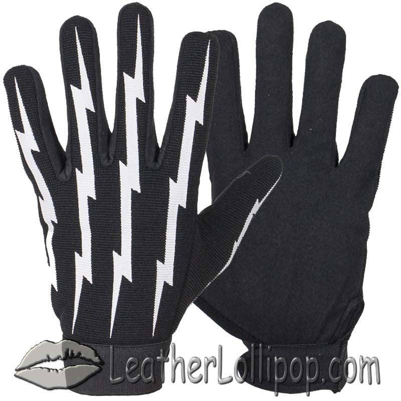 Mechanics Gloves With Lightning Bolts - SKU LL-GLZ88-DL
