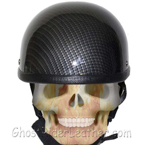 Faux Carbon Fiber LOOK Shorty Motorcycle Novelty Helmet / SKU GRL-H401-CF-DL - Leather Lollipop