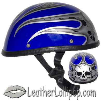 Silver Skull and Blue Flames Novelty Motorcycle Helmet - SKU LL-H401-D4-BLUE-1-DL - Leather Lollipop