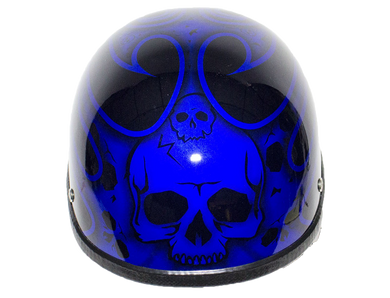 Blue Burning Skull Novelty Motorcycle Helmet - SKU LL-H401-D4-BLUE-DL