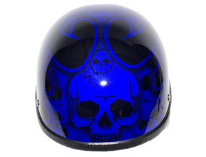Blue Burning Skull Novelty Motorcycle Helmet - SKU LL-H401-D4-BLUE-DL - Leather Lollipop