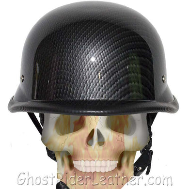 Faux Carbon Fiber LOOK German Motorcycle Novelty Helmet / SKU GRL-H402-CF-DL - Leather Lollipop