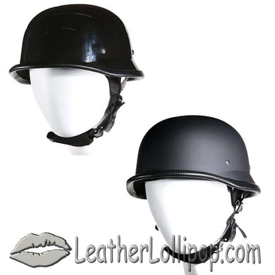 BOGO - German Novelty Motorcycle Helmet Flat or Gloss Black - SKU LL-H402-H502-11-DL - Leather Lollipop
