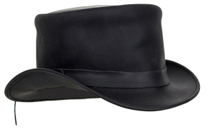 Black Leather Deadman Top Hat - SKU LL-HAT1-11-DL - Leather Lollipop