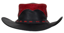 Black and Red Leather Gambler Hat - SKU LL-HAT10-11-DL