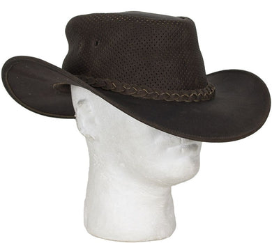 Brown Leather Gambler Hat - SKU LL-HAT11-11-DL - Leather Lollipop