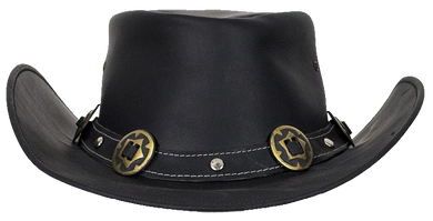 Black Leather Gambler Hat with Conchos - SKU LL-HAT12-11-DL - Leather Lollipop