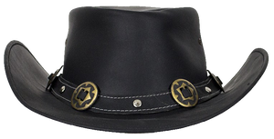 Black Leather Gambler Hat with Conchos - SKU LL-HAT12-11-DL