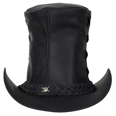 Black Leather Top Hat with Chrome Skull - SKU LL-HAT14-11-DL
