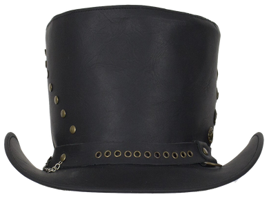 Black Leather Top Hat with Brass Studs - SKU LL-HAT15-11-DL