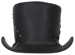Black Leather Top Hat with Brass Studs - SKU LL-HAT15-11-DL - Leather Lollipop