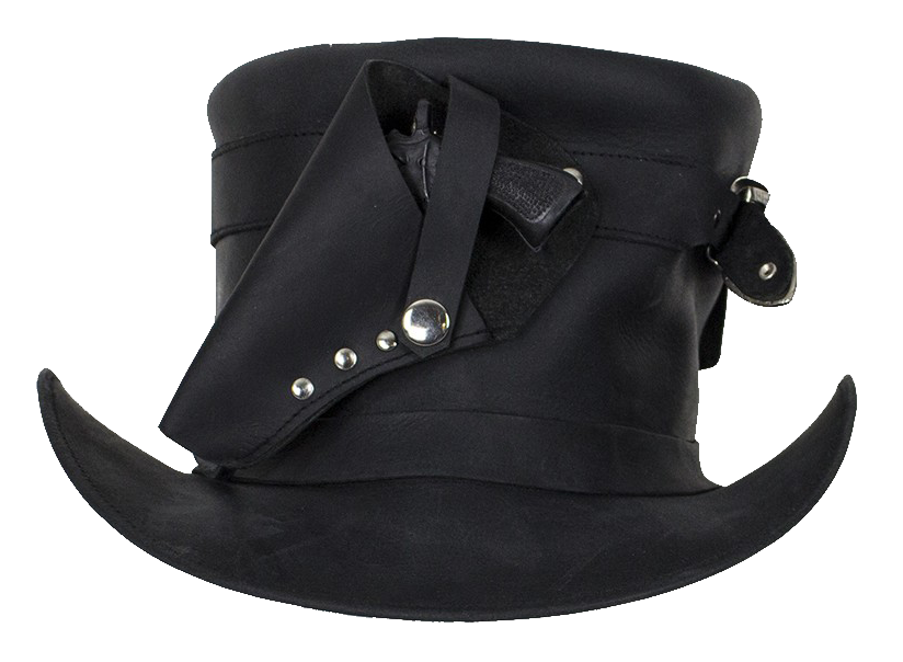 Black Leather Deadman Top Hat with Gun Holsters - SKU LL-HAT7-11-DL