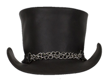 Black Leather Deadman Top Hat with Chrome Chain - SKU LL-HAT8-11-DL