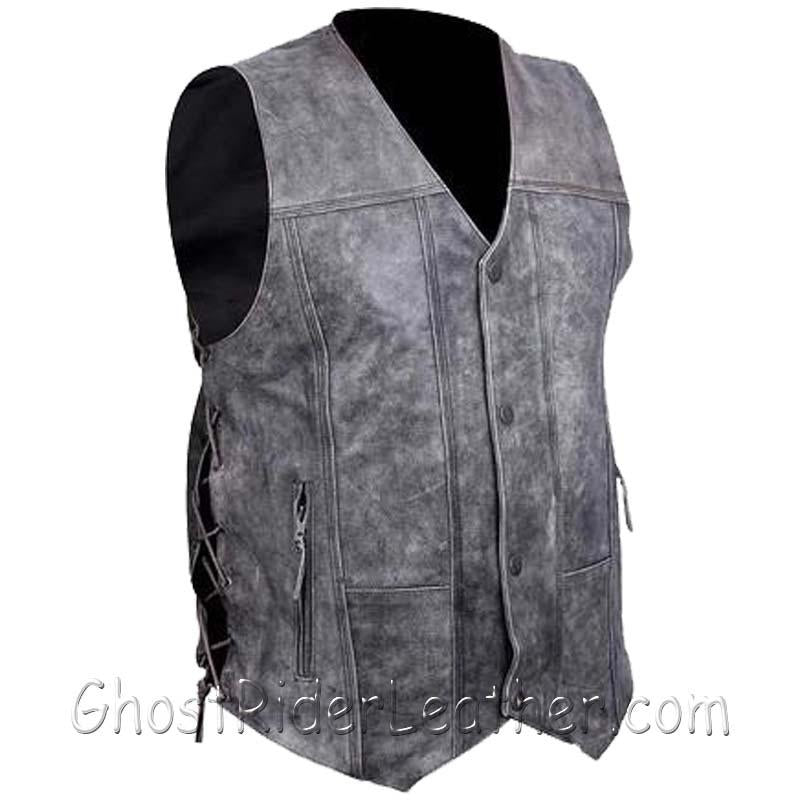 Mens High Mileage Distressed Gray 10 Pocket Leather Vest - SKU GRL-HMM915DG-VL