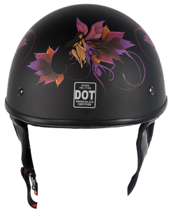 DOT Fairy Flat Black Motorcycle Helmet - SKU LL-HS1100-D2-FLAT-DL