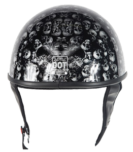 DOT Gray Skulls Shiny Motorcycle Helmet - SKU LL-HS1100-D3-GRAY-SHINY-DL - Leather Lollipop