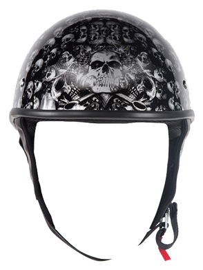 DOT Gray Skulls Shiny Motorcycle Helmet - SKU LL-HS1100-D3-GRAY-SHINY-DL
