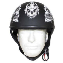 DOT White Horned Skeletons Motorcycle Helmet - Flat Finish - SKU GRL-HS1100-D5-WHITE-FLAT-DL - Leather Lollipop