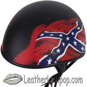 DOT Rebel Flag Motorcycle Helmet - Flat Finish - SKU LL-HS1100-REBEL-FLAT-DL