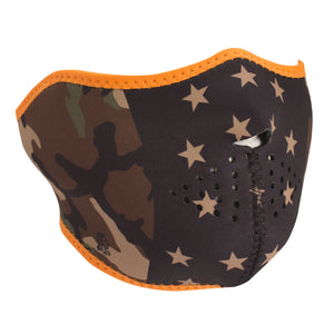 Half Face Mask With Camo Stars Design - SKU LL-FMW35-WNFM175H-HI - Leather Lollipop