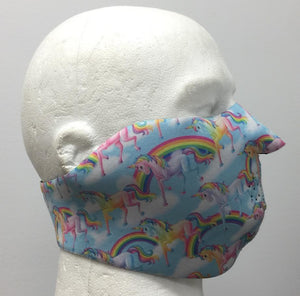 Rainbow Unicorn Half Face Neoprene Face Mask - SKU LL-FMZ21-HI - Leather Lollipop
