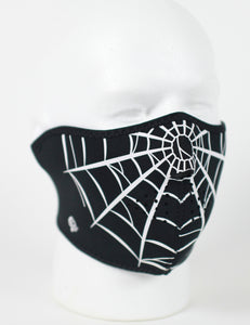 Spider Web Half Face Neoprene Face Mask - SKU LL-FMA19-WNFM055H-HI - Leather Lollipop