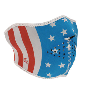 Half Face Mask With USA Flag Design - SKU LL-FMW36-WNFM176HG-HI - Leather Lollipop