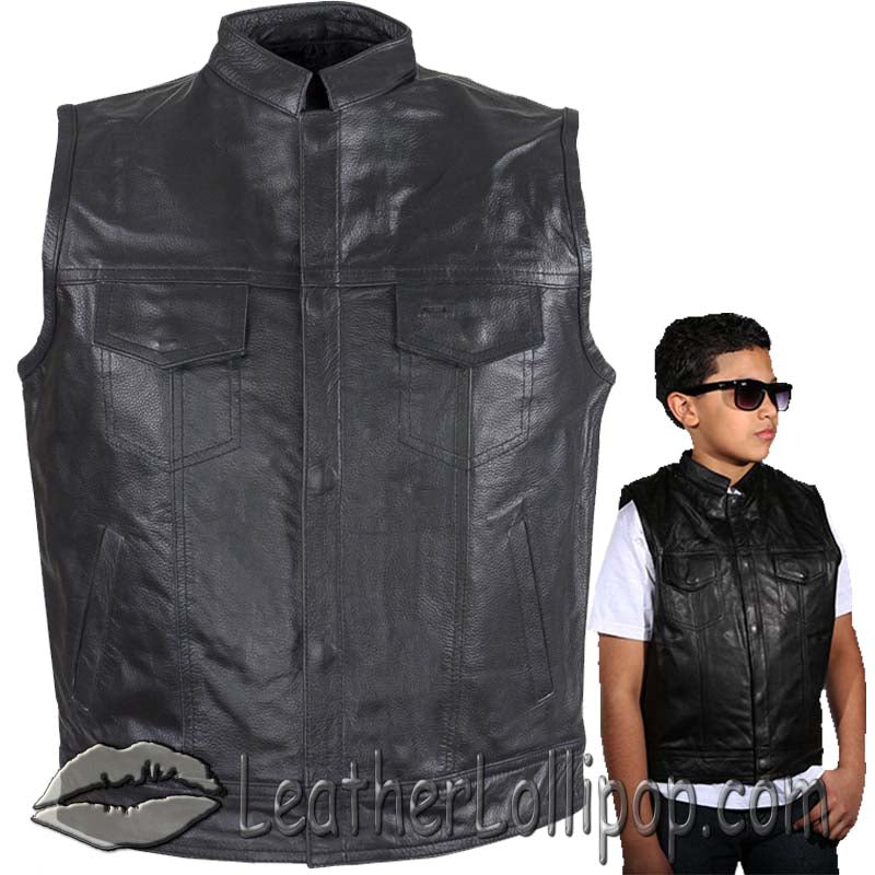 Kids Motorcycle Leather Club Vest - SKU LL-KD320-DL